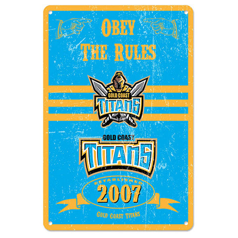 Gold Coast Titans Retro Metal Sign