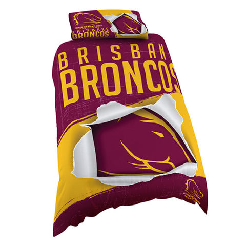Brisbane Broncos Single Quilt Doona Cover Pillow Case Set - Spectator Sports Online