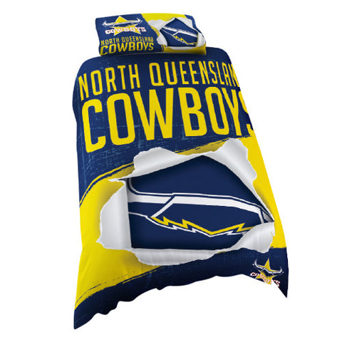 North Queensland Cowboys Single Quilt Doona Cover Pillow Case Set - Spectator Sports Online