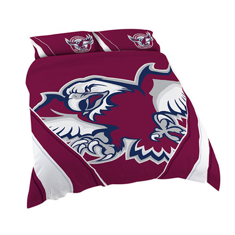 Manly Sea Eagles Quilt Doona Duvet Cover Pillow Case Set - Spectator Sports Online