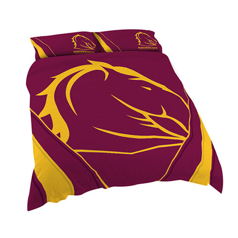 Brisbane Broncos Quilt Doona Duvet Cover Pillow Case Set - Spectator Sports Online