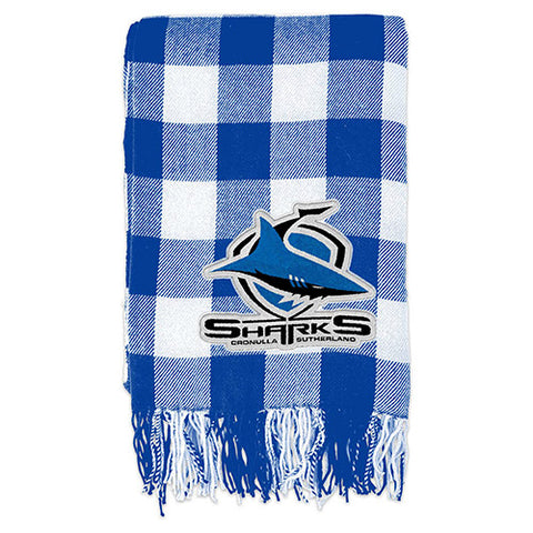 Cronulla Sharks Tartan Throw Blanket