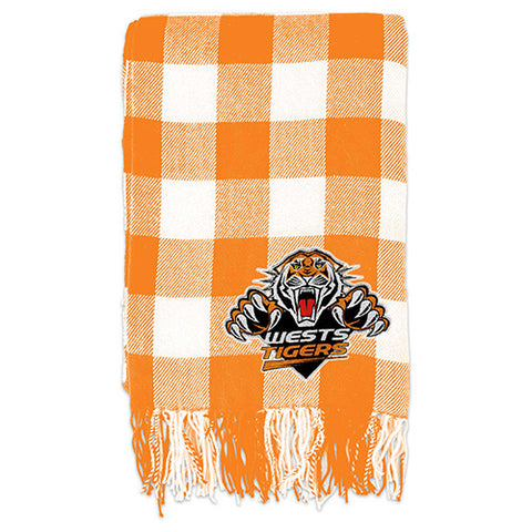Wests Tigers Tartan Throw Blanket