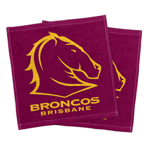 Brisbane Broncos Set Of 2 Face Washers
