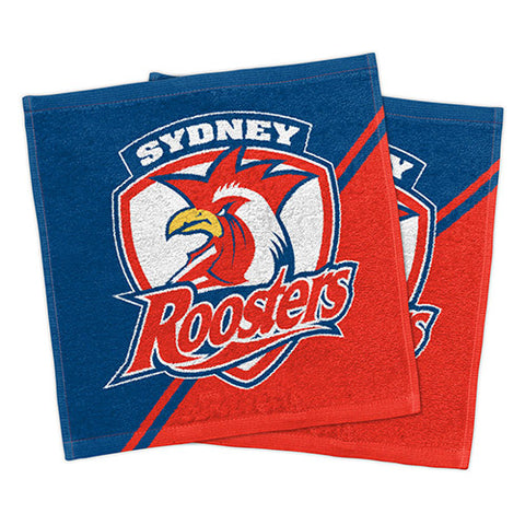 Sydney Roosters Set Of 2 Face Washers