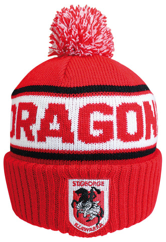 St George Dragons NRL Striker Pom Pom Beanie