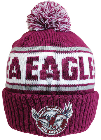Manly Sea Eagles NRL Striker Pom Pom Beanie