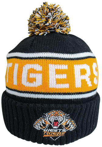 Wests Tigers NRL Striker Pom Pom Beanie
