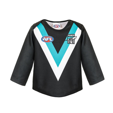Port Adelaide Power Longsleeve Baby Toddlers Footy Jumper Guernsey