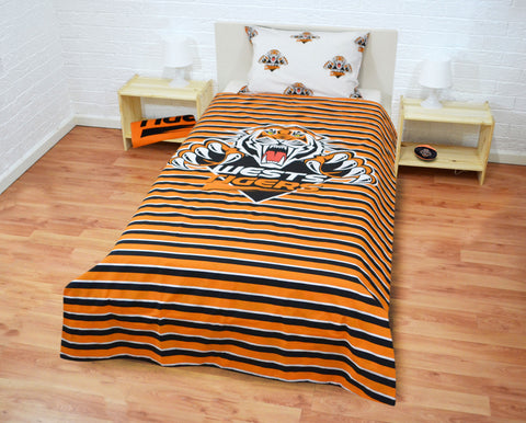 Wests Tigers Quilt Doona Cover Pillow Case Set - Double Sided