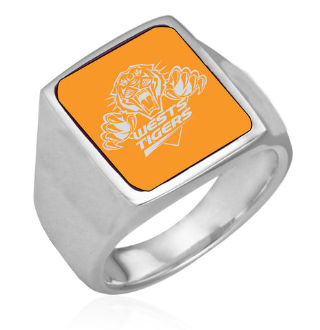 Wests Tigers Stainless Etched Logo Ring - Spectator Sports Online