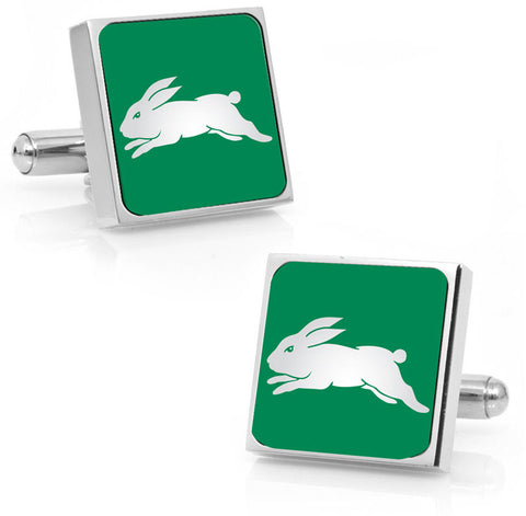 South Sydney Rabbitohs Stainless Etched Logo Square Cufflinks - Spectator Sports Online