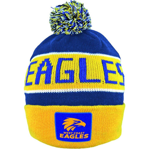 West Coast Eagles Pom Pom Bar Beanie