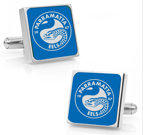 Parramatta Eels Stainless Etched Logo Square Cufflinks - Spectator Sports Online