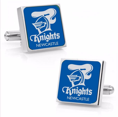 Newcastle Knights Stainless Etched Logo Square Cufflinks - Spectator Sports Online