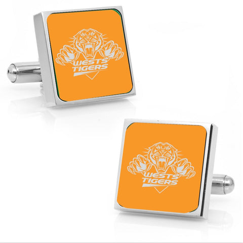 Wests Tigers Stainless Etched Logo Square Cufflinks - Spectator Sports Online