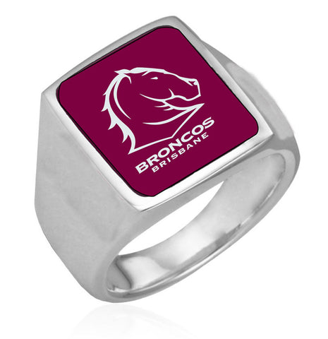 Brisbane Broncos Stainless Etched Logo Ring - Spectator Sports Online