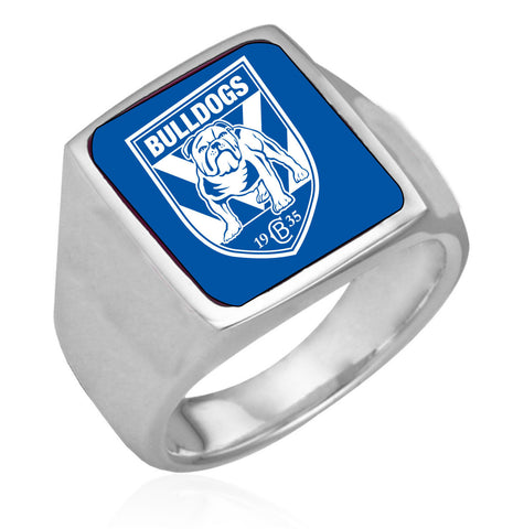 Canterbury Bulldogs Stainless Etched Logo Ring - Spectator Sports Online