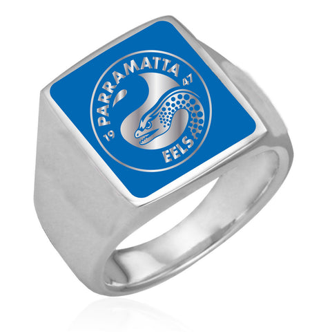 Parramatta Eels Stainless Etched Logo Ring - Spectator Sports Online