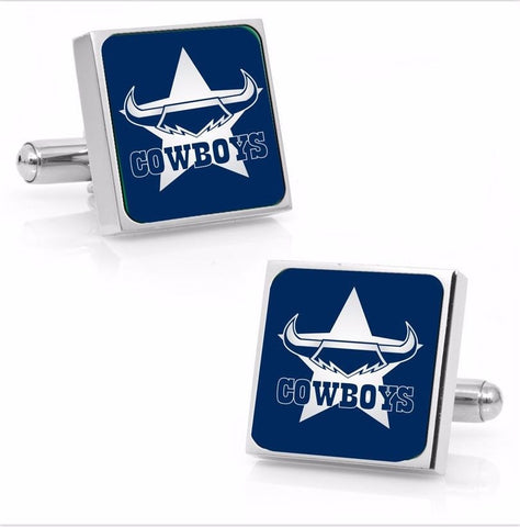 North Queensland Cowboys Stainless Etched Logo Square Cufflinks - Spectator Sports Online