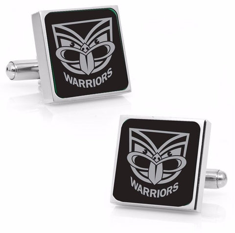 New Zealand Warriors Stainless Etched Logo Square Cufflinks - Spectator Sports Online