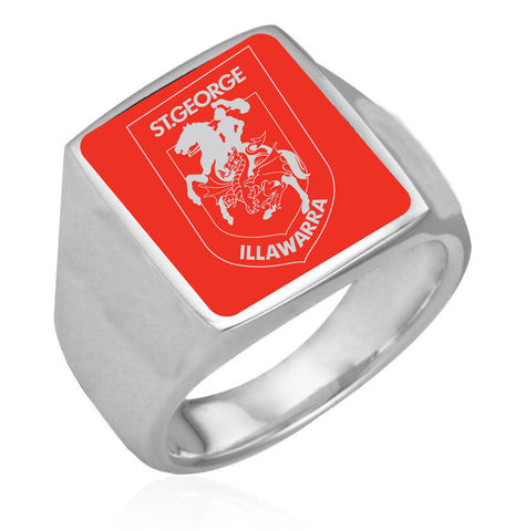 St George Illawarra Dragons Stainless Etched Logo Ring - Spectator Sports Online