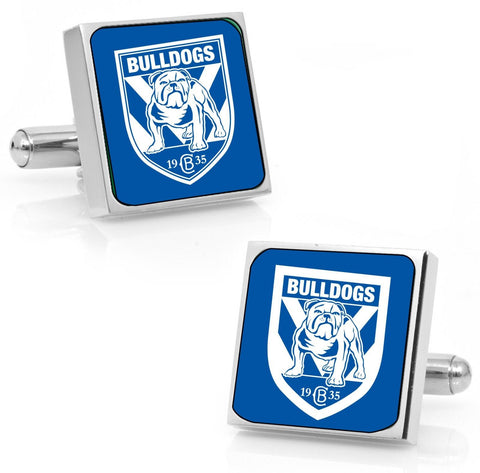 Canterbury Bulldogs Stainless Etched Logo Square Cufflinks - Spectator Sports Online