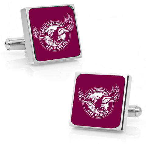 Manly Sea Eagles Stainless Etched Logo Square Cufflinks - Spectator Sports Online