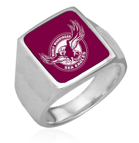 Manly Sea Eagles Stainless Etched Logo Ring - Spectator Sports Online