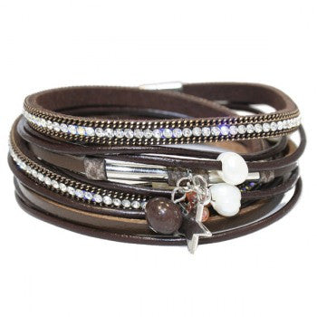 Wickelarmband Pearls and Stars brown
