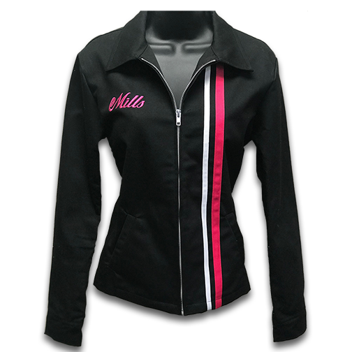 Mills Shop Girls Jacket - Black/Pink & White