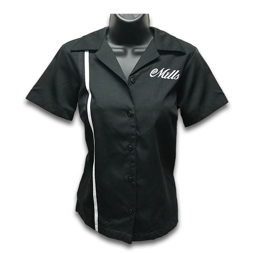 Mills Retro Womens Racer Shirt - Black/White