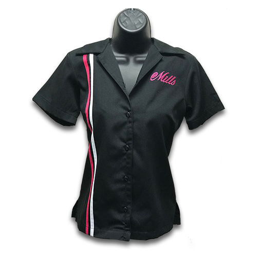 Mills Retro Womens Racer Shirt - Black/Pink