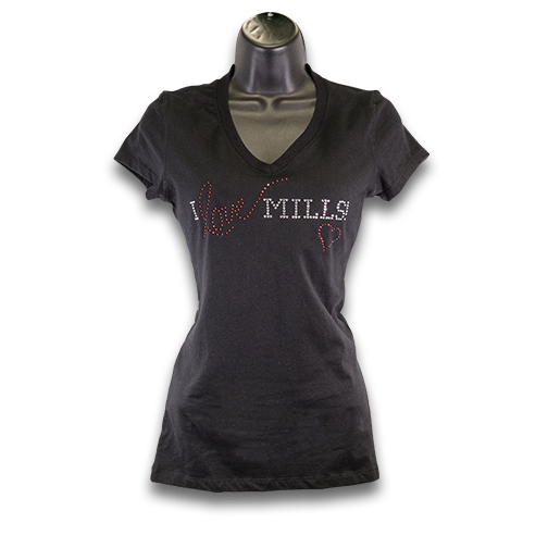 """I Love Mills!"" Rhinestone V-Neck Jersey T-Shirt -Black/White"