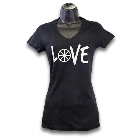 "MAG ""Love"" V-Neck Jersey T-Shirt -Black/White"