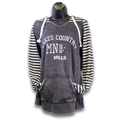"MAG ""Lakes Country"" Ladies Striped Fleece Hoodie - Black/White"