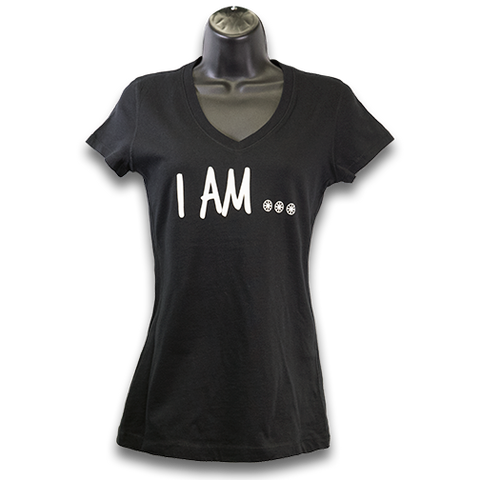 "MAG ""I Am..."" V-Neck Jersey T-Shirt -Black/White"