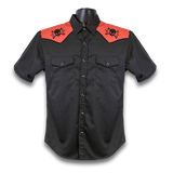 MAX Lightning Skull Western Shirt - Black/Red