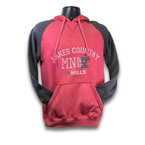 "MAG ""Lakes Country"" Raglan Hoodie - Heathered Red/Charcoal"