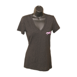 MAX V-Neck T-Shirt - Charcoal/Pink