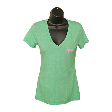 MAX V-Neck T-Shirt - Green/Pink