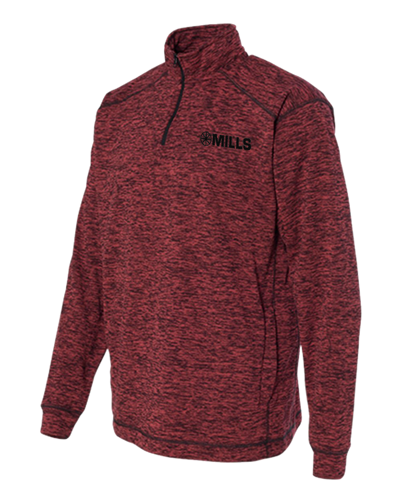 J America Cosmic Fleece 1/4 Zip Pullover - Red Fleck