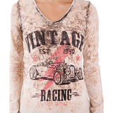 Vintage Racing V-Neck T-Shirt, Beige