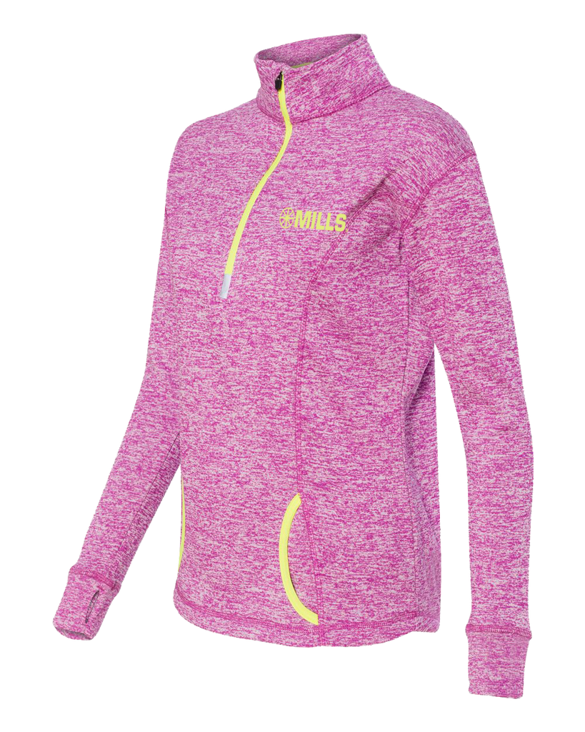J America Cosmic Fleece 1/4 Pullover - Magenta/Neon Yellow