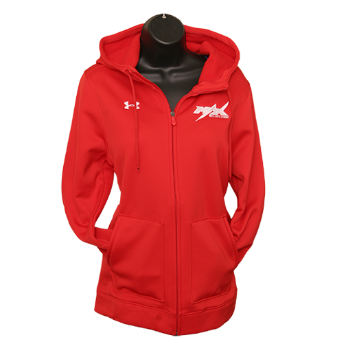 Womens MAX Under Armour Zipper Hoodie, Red