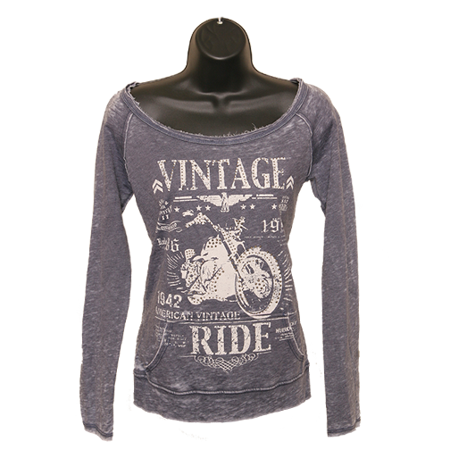 """Vintage Ride"" Boat-Neck Sweatshirt - Denim Blue"