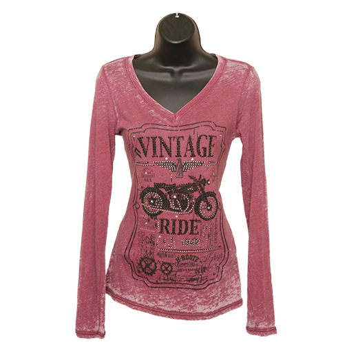 "Long Sleeve ""Vintage Ride"" Motorcycle T-Shirt - Burgundy"