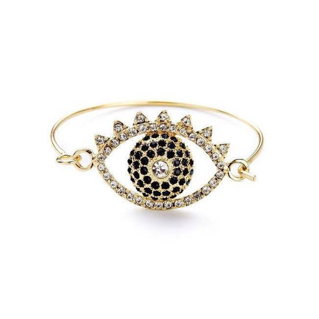 Evil Eye Bangle Bracelet with Rhinestones