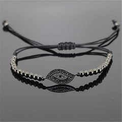 Evil Eye Black Beaded Macrame Bracelet