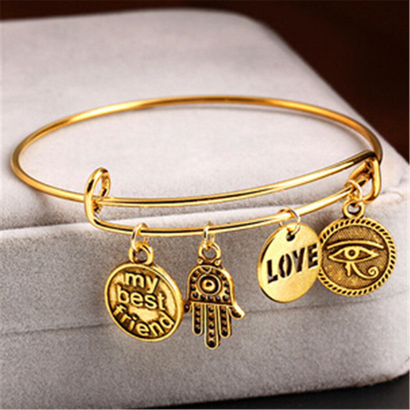 Wire Bangle Bracelet with Best Friend Charm